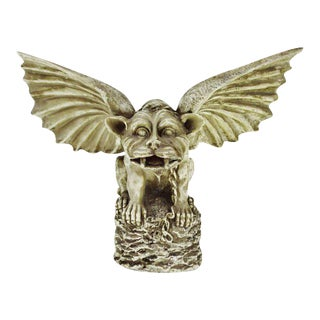 Vintage Gothic Grotesque Gargoyle Winged Dog Statue For Sale