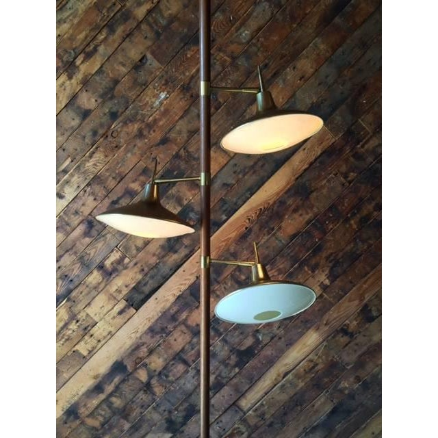 Mid-Century Brass & Wood Tension Pole Lamp - Image 6 of 11
