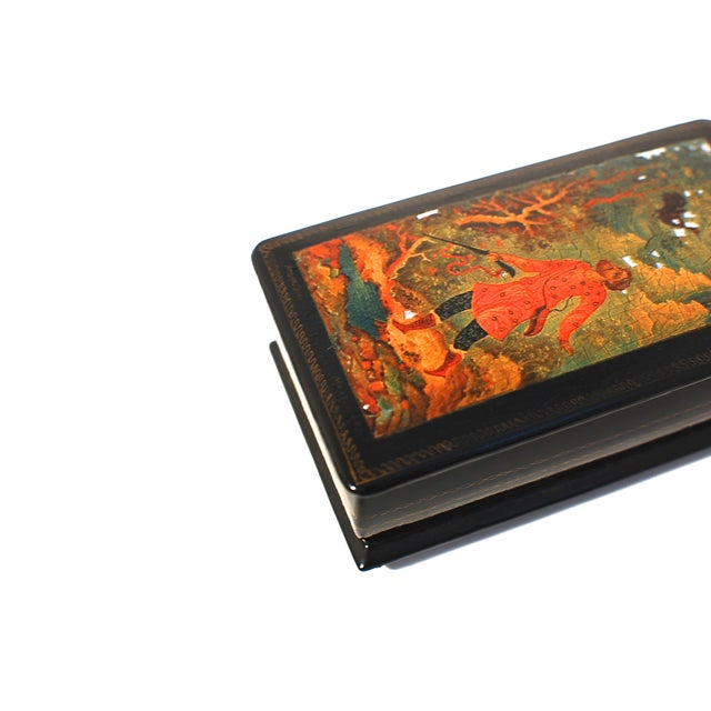 Russian Lacquer Box with Hinged Lid - Image 6 of 7