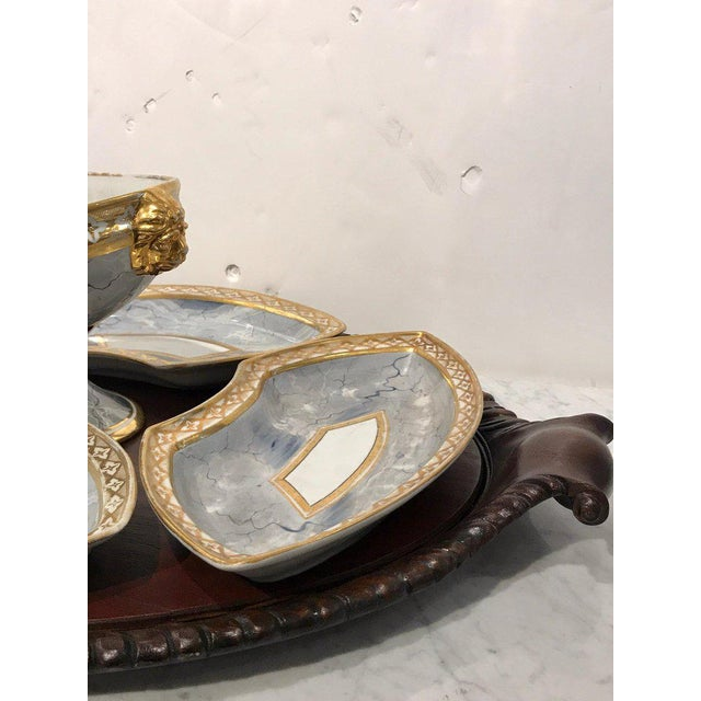 Antique Derby Marbleized Supper Set on Georgian Mahogany Tray For Sale - Image 4 of 13