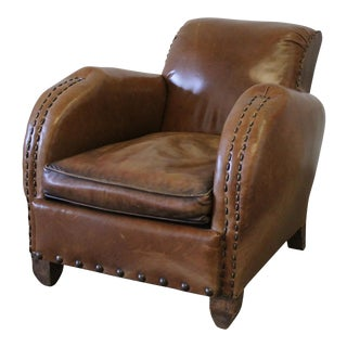 Early 20th Century Art Deco Style French Leather Club Chair For Sale