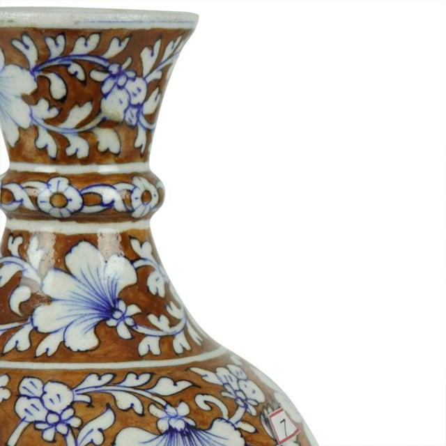 Boho Chic Floral Brown Jaipur Vase For Sale - Image 3 of 4