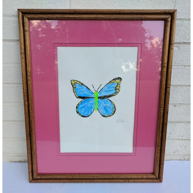 Original Acrylic Butterfly Painting Signed and Framed For Sale - Image 11 of 13