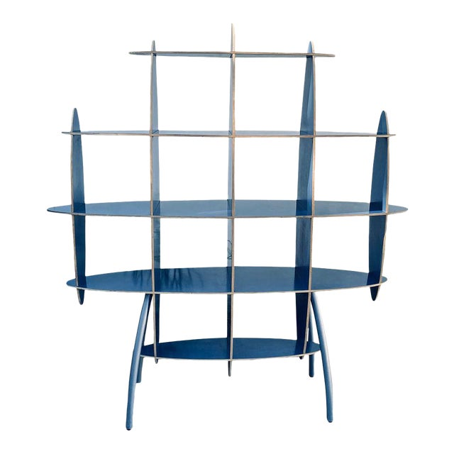 Italian Contemporary Modern Blue Standing Rack/Shelf For Sale