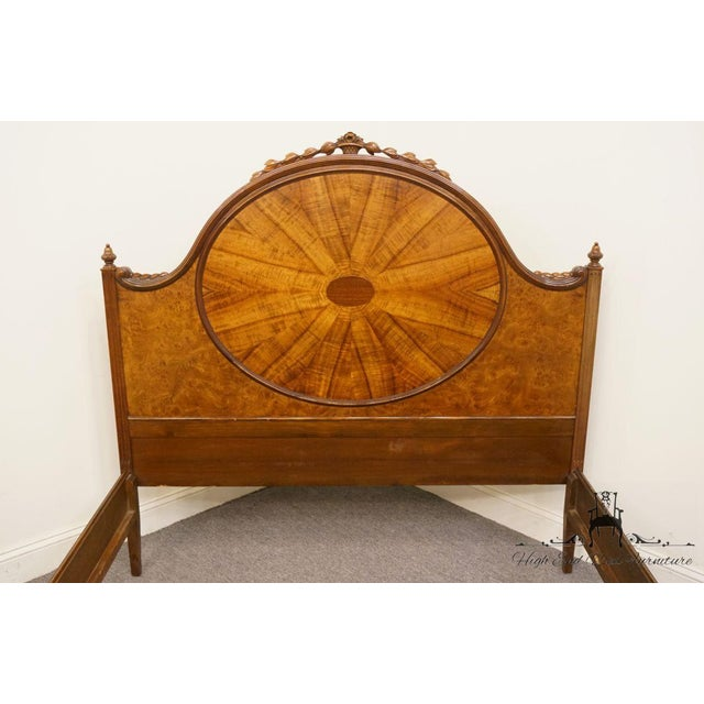 French 20th Century French Berkey & Gay Burled Walnut Full Size Bed For Sale - Image 3 of 13