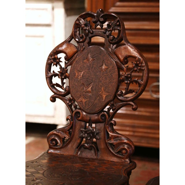 Set of Four 19th Century French Black Forest Carved Walnut Chairs For Sale In Dallas - Image 6 of 13