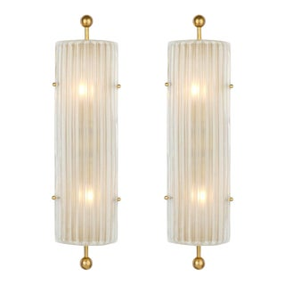 Art Deco Style Murano Glass and Brass Finial Sconces For Sale