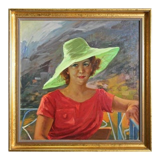 1960s Vintage Impressionist Portrait Oil Painting of Pretty Lady in Green Hat