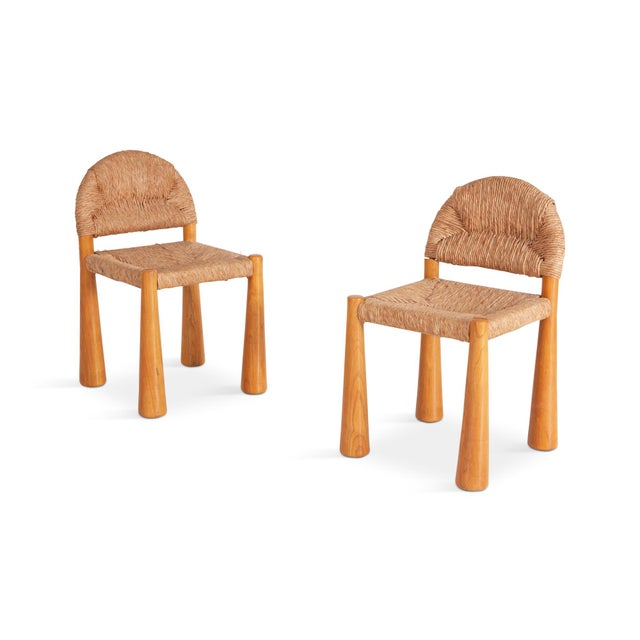 1970s Wicker & Solid Pine Toscanolla Chairs by Alessandro Becchi for Giovanetti For Sale - Image 5 of 8