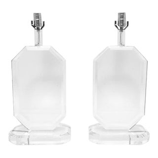 Lucite Table Lamps in the Style of Les Prismatiques - a Pair For Sale