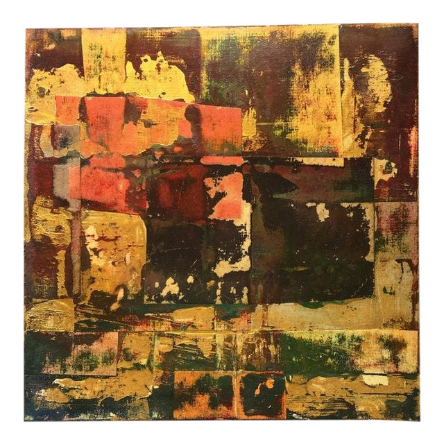 Contemporary Abstract Oil Painting Gold War By Mirtha Moreno