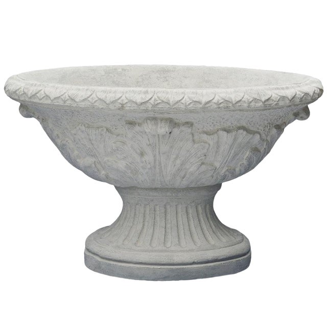 Oval Acanthus Urn Planter in Limestone For Sale