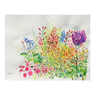 My Spring Garden, Original Watercolor on Arches Cold Press For Sale