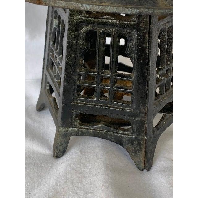 Vintage Cast Iron Pagoda Lantern For Sale - Image 4 of 9