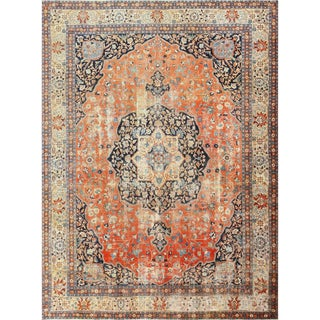 Antique Persian Shabby Chic Tabriz Rug - 9′4″ × 12′5″ For Sale