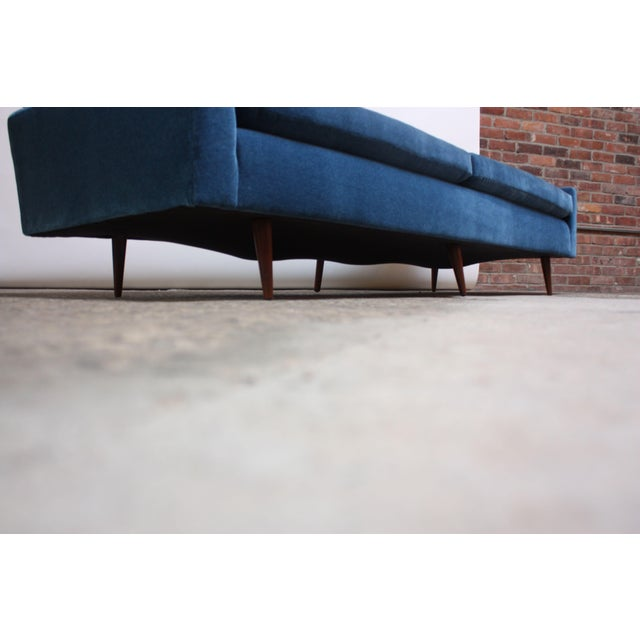 Blue Milo Baughman for Thayer Coggin Walnut Sofa in Blue Mohair For Sale - Image 8 of 13