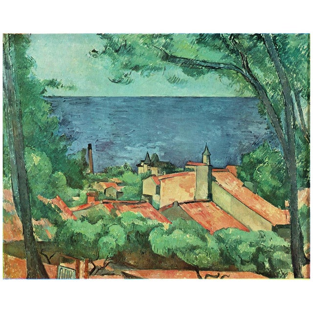 A gorgeous and large, rare vintage plate after Seascape at l'Estaque (1882-1885) painting by Paul Cezanne from the...