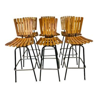 Mid-Century Arthur Umanoff Style Slatted Bar Stools - Set of 6 For Sale