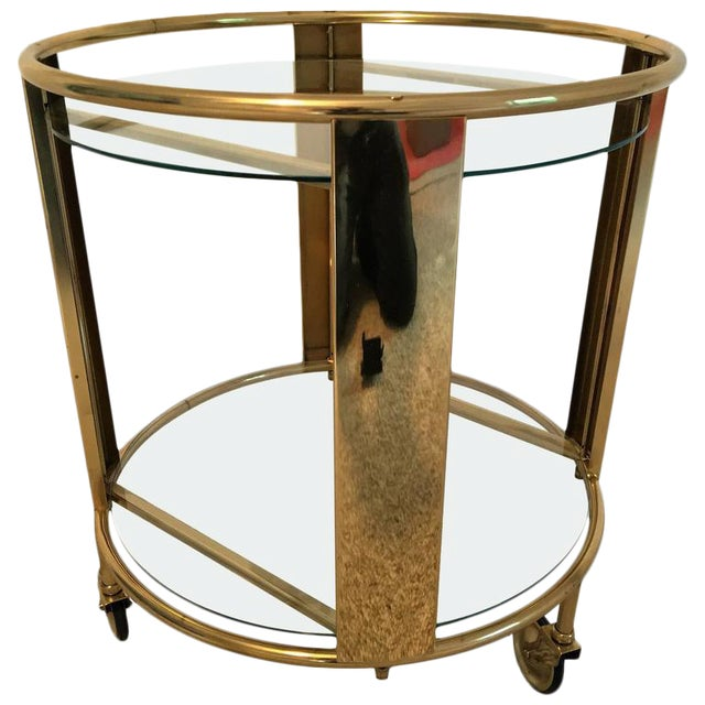 Italian Modernist Design Round Polished Brass Bar Cart - Image 9 of 9