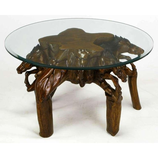 Incredible Equine Carved Wood Coffee Table - Image 2 of 9