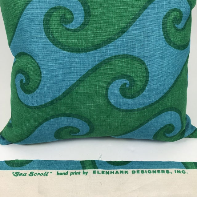 Vintage Blue and Green Sea Scroll Pattern Pillows Hand Printed by Elenhank - a Pair For Sale - Image 9 of 12