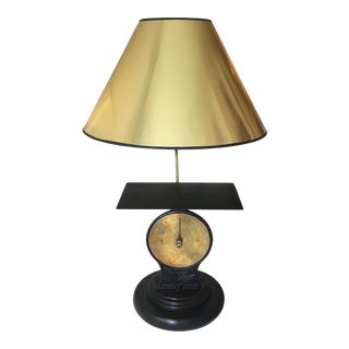 Antique Early 1900s Repurposed English Brass, Iron, and Wood Scale Lamp For Sale