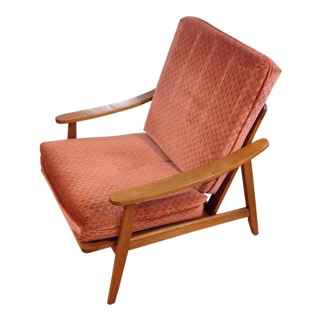 Vintage Mid-Century Oak & Burnt Orange Arm Chair - Image 1 of 9