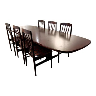 1960s Scandinavian Design Rose Mahogany Finished Teak Dining Table & Chairs - Set of 6 For Sale