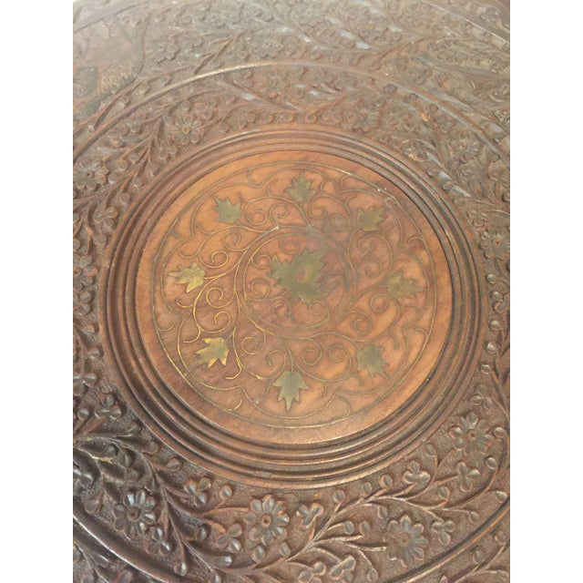 1950s Mediterranean Hand Carved Rosewood Inlaid Side Tables - a Pair For Sale In Los Angeles - Image 6 of 13
