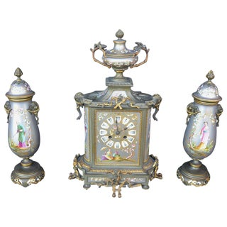 Small French Chinoiserie Clock Set For Sale