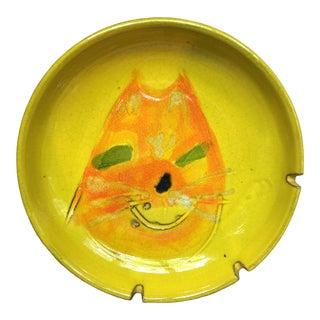 Original Mid Century Modern Italian Abstract Pop Art Cat Ceramic Ashtray For Sale