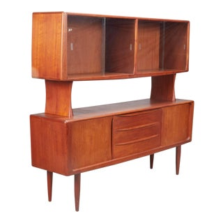 Danish Modern Teak China Cabinet Sideboard by H.P. Hansen