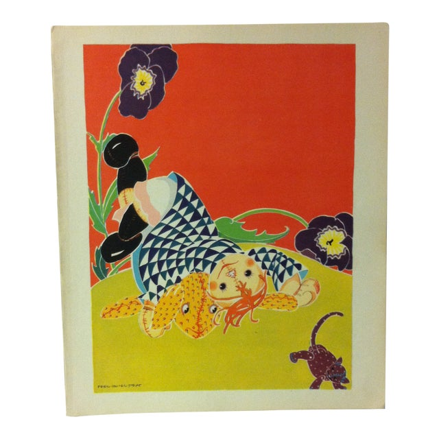 """Vintage Rag Doll Jane Print, """"She Fell Over Something That Barked Like a Dog and Mewed Like a Cat"""", Saalfiled Pub 1930 For Sale"""