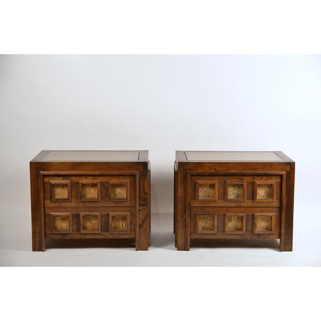Rare pair of Brutalist stained oak and cork night stands / small commodes. Convenient glass top surface integrated in the...