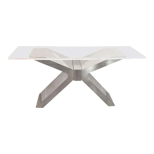 X-Form Console Table in Stainless Steel and Lucite For Sale