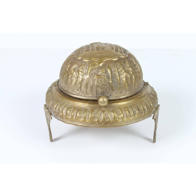 Gold Footed Brass Silvered Persian Caviar Server For Sale - Image 8 of 8