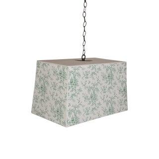 Chinoiserie Custom Wallpaper Pendant Light For Sale