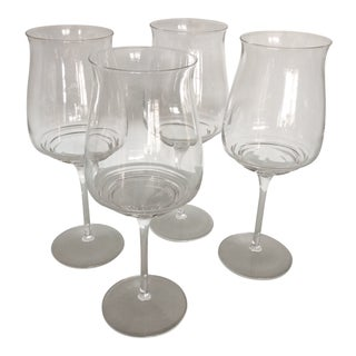 Luigi Bormiali Etched Signed Crystal Pinot Noir Wine Glasses Set of 4 For Sale