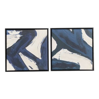 Abstract Pottery Barn 1 & 2 Black White Blue Wall Art Decor - a Pair For Sale