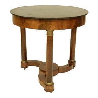19th C. Empire Gueridon Table With Black Marble Top For Sale