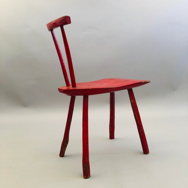 Oak Hand Hewn Oak Side Chair For Sale - Image 7 of 8