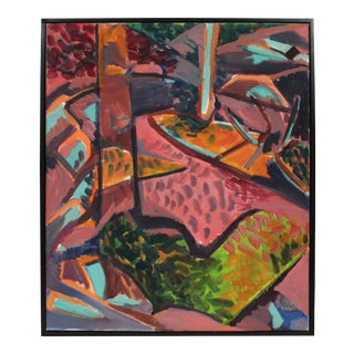 Abstracted Fauvist Landscape in Pink Oil Painting on Canvas, Late 20th Century For Sale