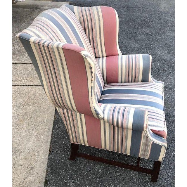 Chippendale Late 20th Century Chippendale Style Wing Chair For Sale - Image 3 of 6