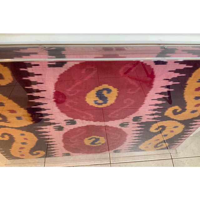 Antique Silk Ikat Display in Lucite Shadowbox For Sale - Image 11 of 13