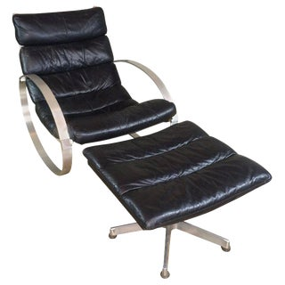 1970s Vintage Hans Kaufeld Leather Lounge Rocking Chair & Ottoman For Sale