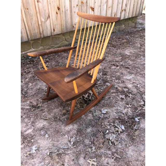 Modern Nakashima Studio Mixed Wood Lounge Rocking Chair For Sale - Image 10 of 13