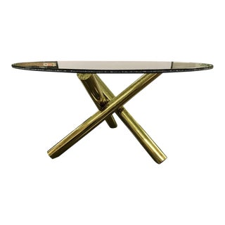 Round Crackled Glass Table on Brass Sculptural Base For Sale