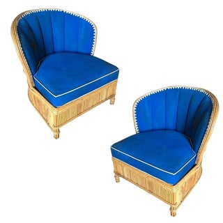 Rare Art Deco Shell Back Stick Rattan Lounge Chairs For Sale