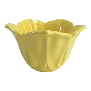 Vintage Floral Shaped Yellow Cachepot Planter For Sale