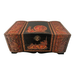 1950s Vintage Asian Jewelry Box For Sale